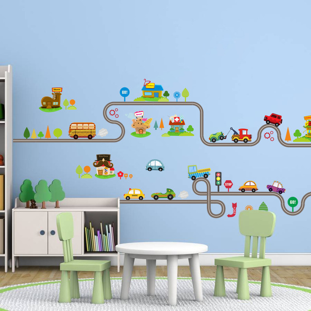 Cartoon Car Bus Highway Track Wall Stickers For Kids Rooms Childrenu0027s  Bedroom Living Room Decor Part 32
