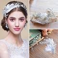 High quality European White Feather Brides Hairbands Rhinstone Tiara Headpieces Evening Hair Accessories
