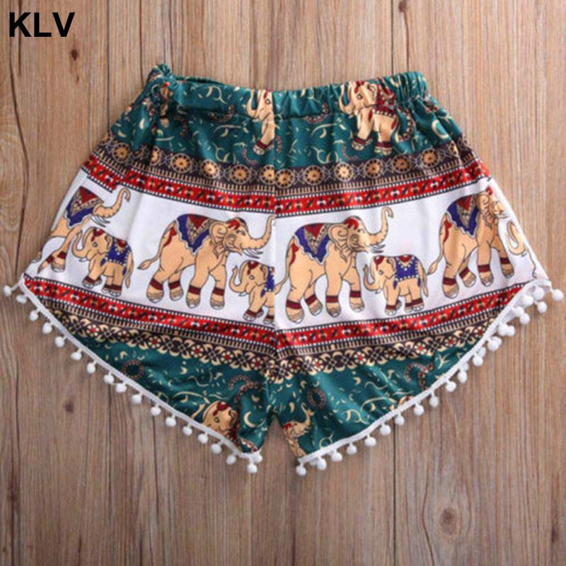 Womens Summer Ethnic Colored Elephant Print Shorts Pompom Tassels Hem Beach Pants High Waist Wide Leg Casual Lounge Boardshorts