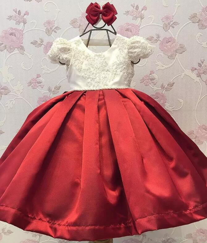 все цены на New Customized Girls Dresses Pearls Lace Ball Gown Flower Girl Dress For Weddings Lace Little Girls Pageant Dress онлайн