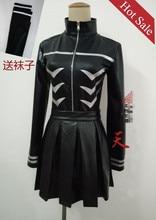 Anime! Tokyo Ghoul Kaneki Ken Sexual Turn Battle Suit Black Uniform Cosplay Costume coat+skirt+stockings Free Shipping