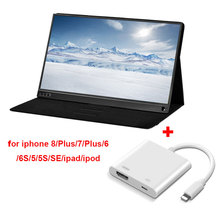 15.6 inch 1080P IPS Screen LCD Monitor with Lightning to HDMI cable for iphone 8/Plus/7/Plus/6 /6S/5/5S/SE/ipad/ipod laptop PS4 brand new 5 7 inch touch screen for elo e921750 scn at flt05 7 z01 0h1 r accutouch 5 wire cable