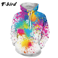 T Bird 2017 Brand Casual Men Hoodies Hip Pop Pullovers Print Paint Color Blocks Hoody 3d