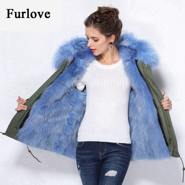 Natural raccoon fur collar hooded real fur lined parka winter coat ...