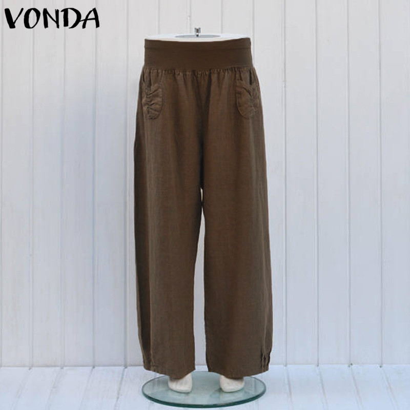 Women Pants 2018 Summer Female Wide Leg Trousers Casual Cotton Fashion Elastic Waist Vintage Loose Bottoms Plus Size