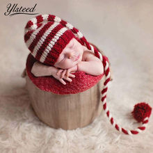 Baby knitting Long Tails Christmas Hat Newborn Photography Props Red White Stripe Crochet Baby Hats Baby Props For Photography(China)