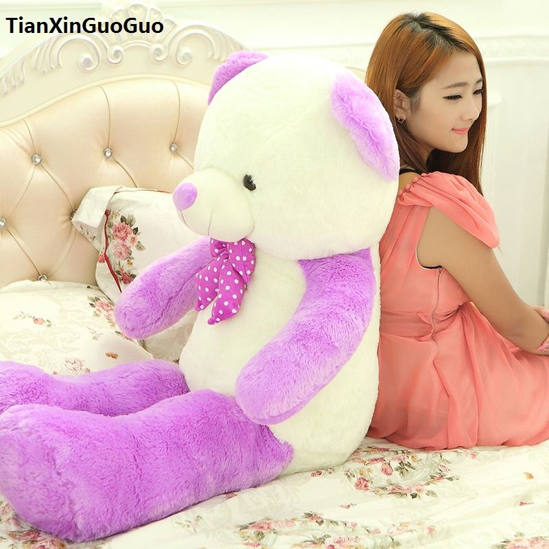 new arrival large 120cm cartoon purple teddy bear plush toy bowtie bear soft doll throw pillow birthday gift b2880 купить