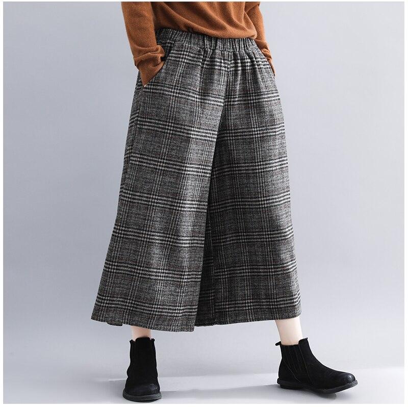 Plus Size Women Wide Leg Pants Autumn Harem Pants Plaid Casual Vintage Korean 2018 Oversize New Elastic Waist Woolen Pants 4