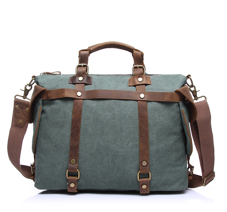 Crazy Horse canvas with leather shoulder bag handbag Messenger bags men and women large-capacity leisure crossbody bag 2801# weiju new canvas women handbag large capacity casual tote bag women men shoulder bag messenger crossbody bags sac a main