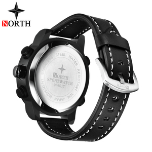 Image 5 - Luksusowa marka North Casual sport zegarek kwarcowy mężczyźni skórzany analogowy cyfrowy zegarek elektroniczny wojskowy zegarki człowiek Relogio Masculino