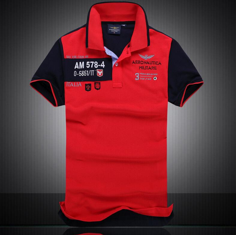2018 Europe and the United States men's cotton lapel   POLO   Air Force Embroidery Fashion   Polo   European size M-2XL