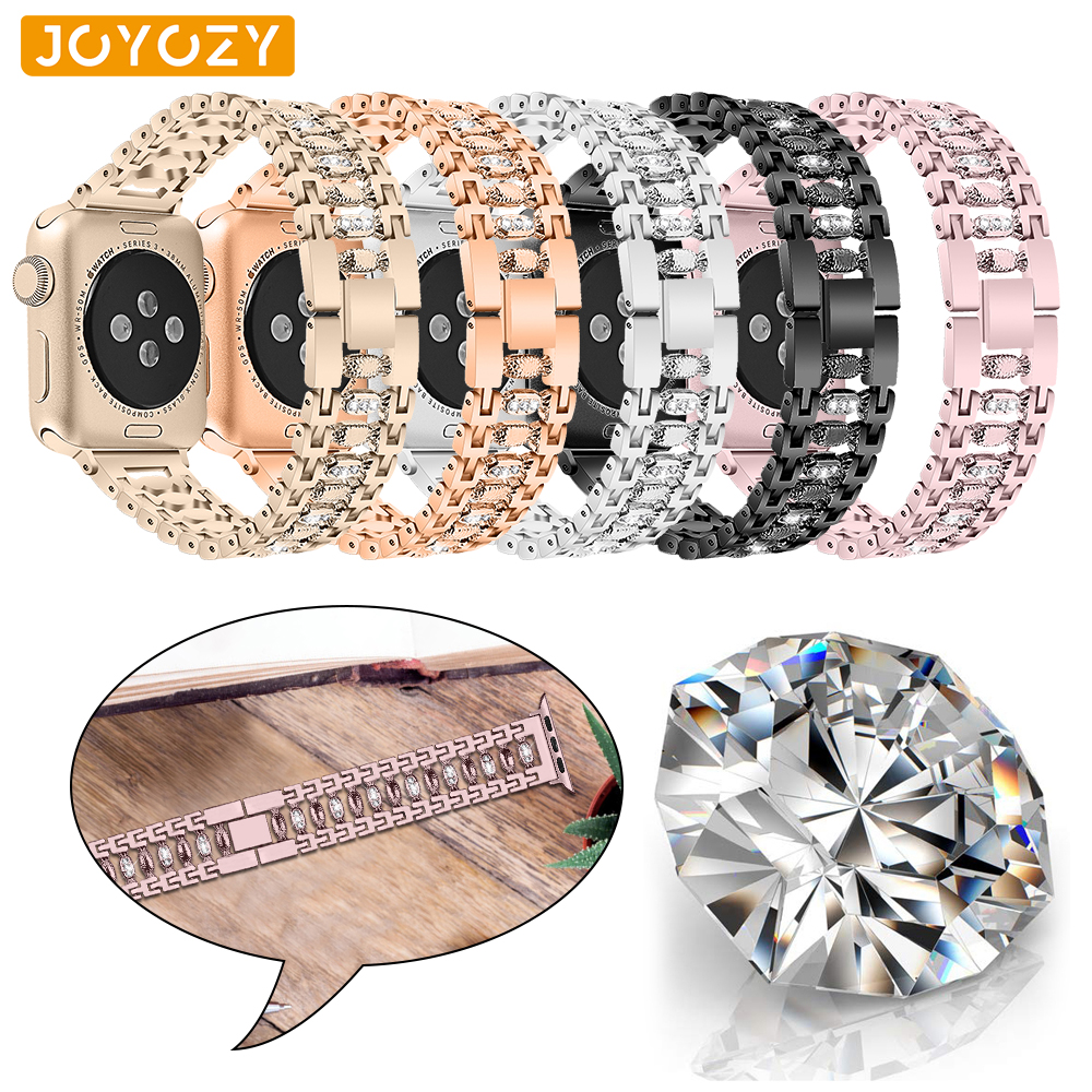 Joyozy Stainless Steel Women Bling Band For Apple Watch Band 38mm/42mm Bracelet Adjustable Strap For Apple Watch 4/3/2/1 Band