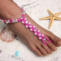 Newest 100 Satisfaction Guaranteed Beach Wedding Bridal Foot Jewelry Female Rhinestone Pearl Beads Barefoot Sandals 1pair