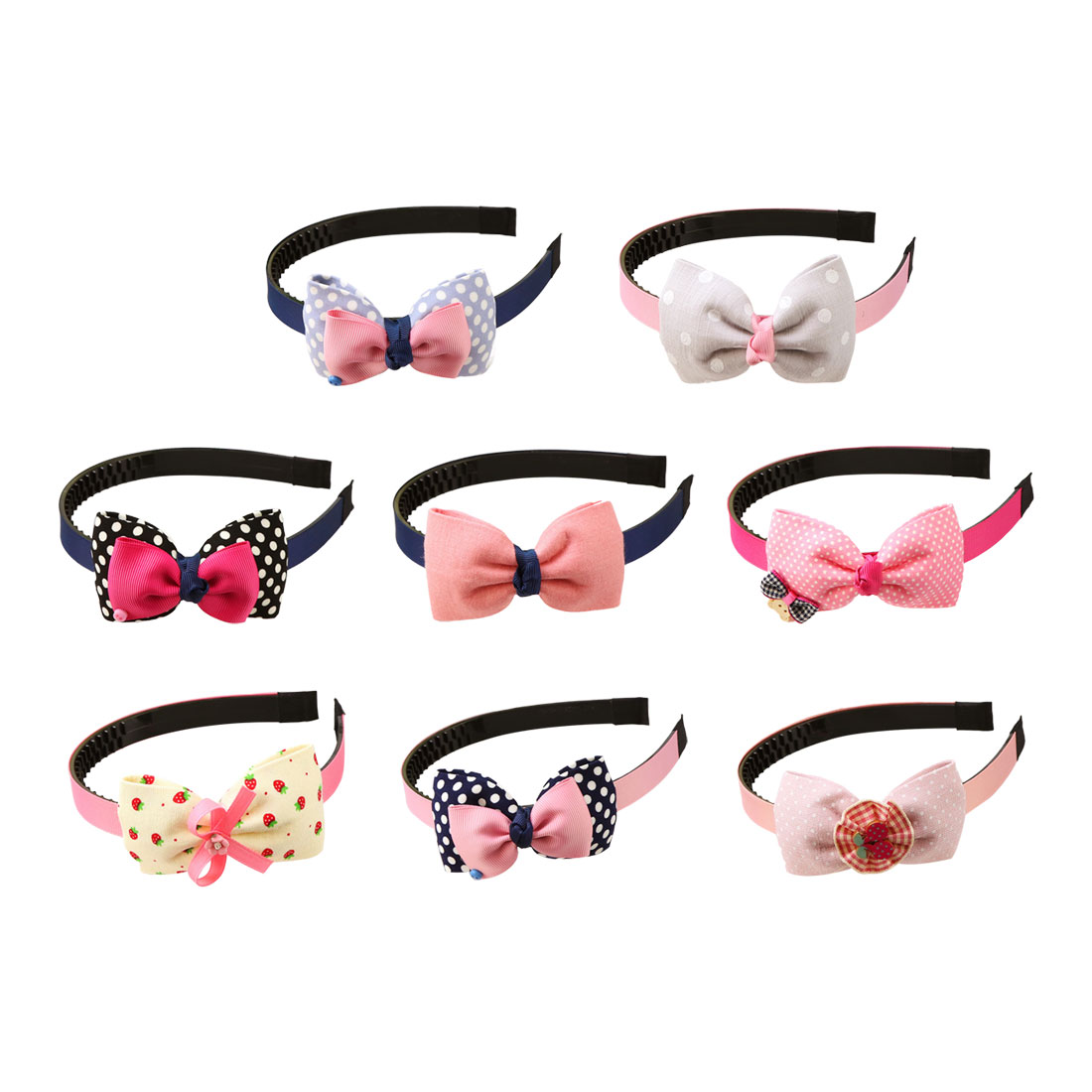 Children Plastic Headband Cute Big Bows Flower Spot Hairband Girls Lovely Hair Band Headwear