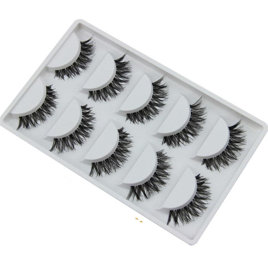 Fake Eyelashes Natural 5 Pairs/Lot Cheap Crisscross Dense False Eyelashes HOT Eye Lashes Drop Shipping 08F7
