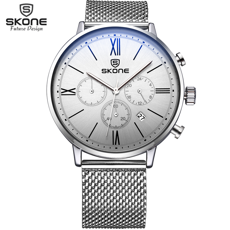 2017 Fashion Simple Stylish Top Luxury Brand SKONE Watches Men Stainless Steel Mesh Strap Band Quartz-Watch Thin Dial Clock Man fashion simple stylish luxury brand crrju watches men stainless steel mesh strap thin dial clock man casual quartz watch black