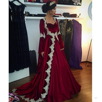 9fe31d2f28acb Hot Sales Muslim Style Evening Dress Sweetheart Long Sleeves Velour Party  Gowns Custom Quality Lace Robe