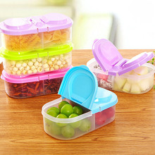Double Grid Covered Storage Boxes Multifunctional Kitchen Refrigerator Plastic Food Save Sealed Jar Box