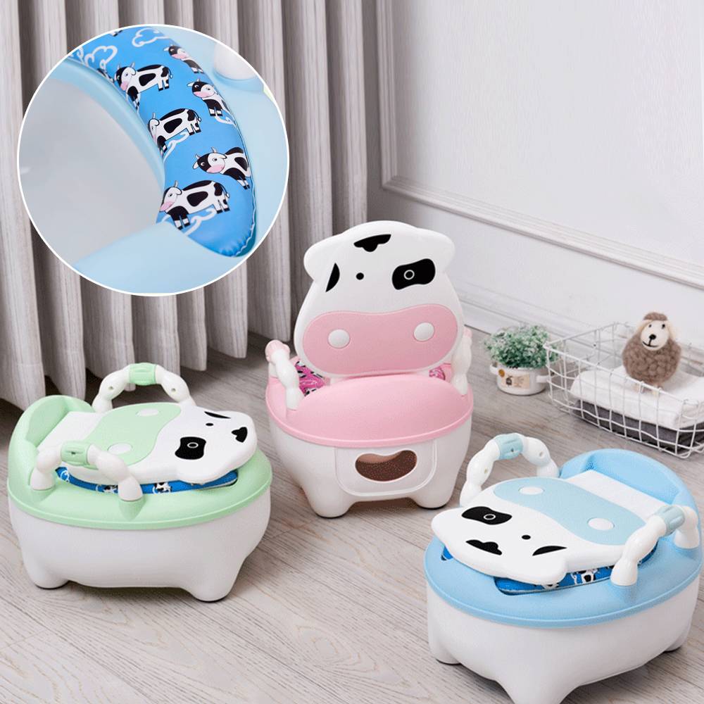 Cartoon Baby Training Potty Toilet Seat Pot For Kids Backrest Portable Toilet Bowl Multicolor Safety Non-slip Children's Toilet