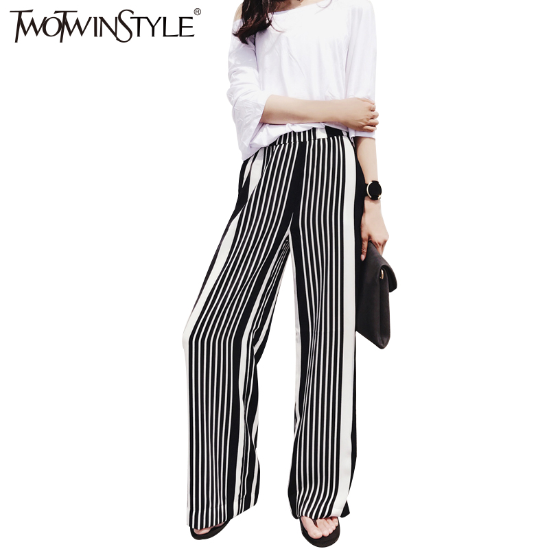 TWOTWINSTYLE Striped Chiffon Trousers for Women   Wide     Leg     Pants   Palazzon Elastic High Waist Casual Clothes Large Big Sizes Summer