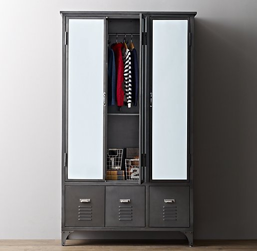 loft industriel style de pays d 39 am rique fer forg armoire armoires de rangement casiers casiers. Black Bedroom Furniture Sets. Home Design Ideas
