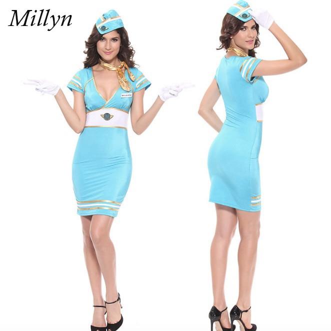 Sexy lingerie hostess flight attendant eu821 Fashion Military role playing uniform temptation Costume