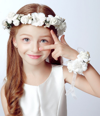 2pc/set Fashion white bride wedding wreath head flowers wrist flower corsage flower girl hair accessories Flower crown and wrist