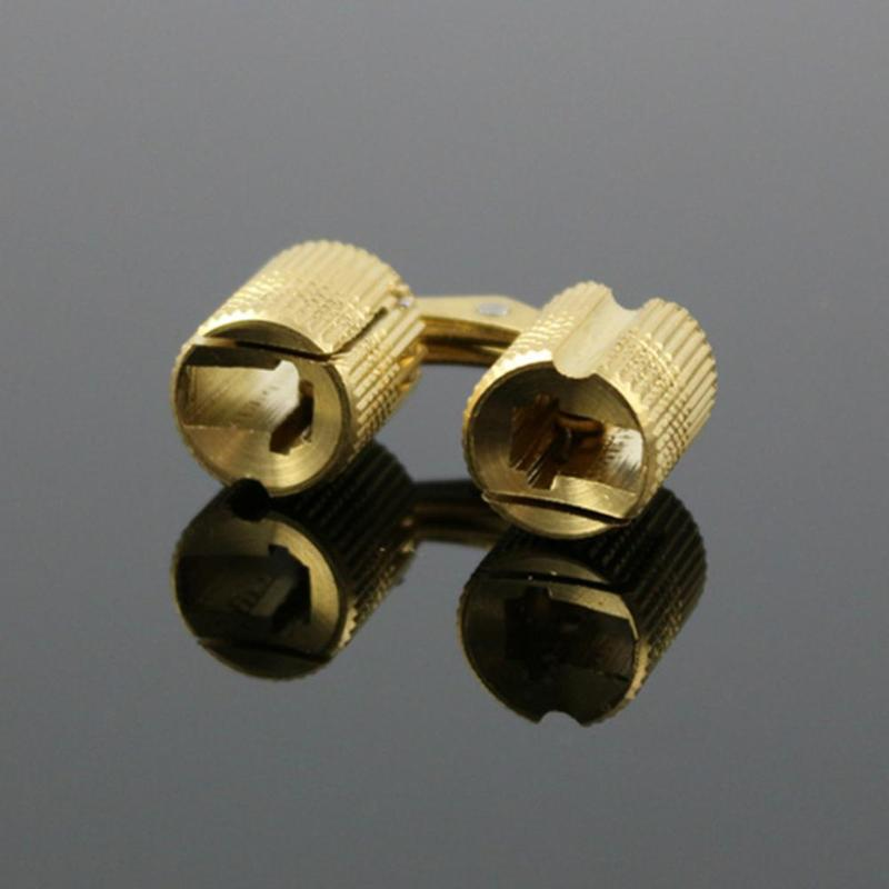 2PCS 14mm Copper Barrel Hinges Cylindrical Hidden Cabinet Concealed  Invisible Brass Hinge For Door Cabinet Hardware