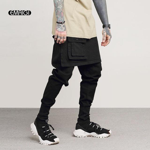 De los hombres de moda Casual Falda pantalón calle pantalones Cargo hombre  Punk Rock Hip Hop 2dca5086bfe1