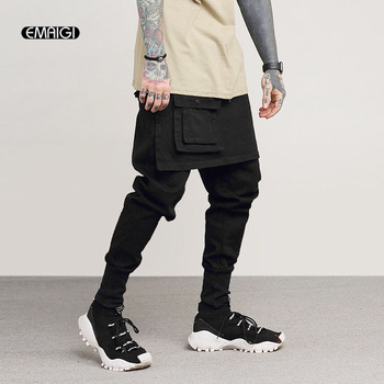 De los hombres de moda Casual Falda pantalón calle pantalones Cargo hombre Punk Rock bailarín de hip hop pantalón harén Jogger pantalones de chándal