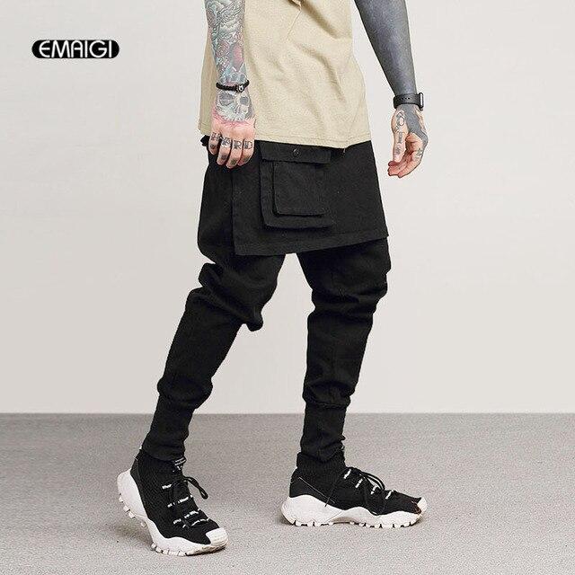 73716356c € 29.57 36% de DESCUENTO|Pantalones de chándal para hombre moda Casual  Falda pantalón calle Cargo Rock Punk Hip Hop bailarín Harem pantalón ...