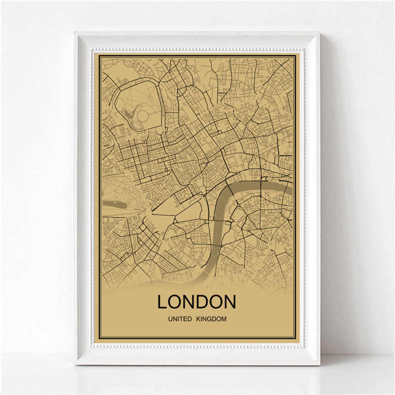 Famous city LONDON World map Retro painting Vintage poster Krafts paper art Wall Picture Living Room Cafe Bar pub Decor Home