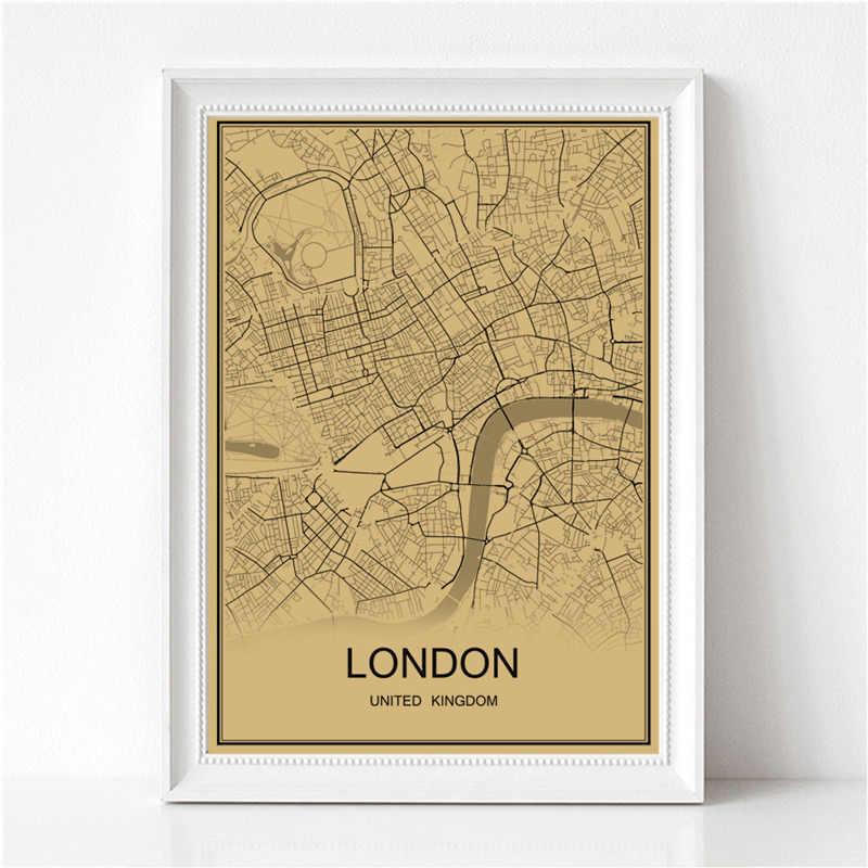 Beroemde stad LONDEN wereldkaart Retro schilderen Vintage poster Krafts papier kunst Muur Foto Woonkamer Cafe Bar pub Decor thuis