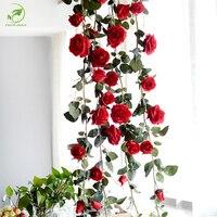 180 cm de Alta Calidad De Seda Falsa Hiedra Vid Flores Artificiales Rosas Con Hojas Verdes Para El Hogar Decoración de La Boda Guirnalda Colgante