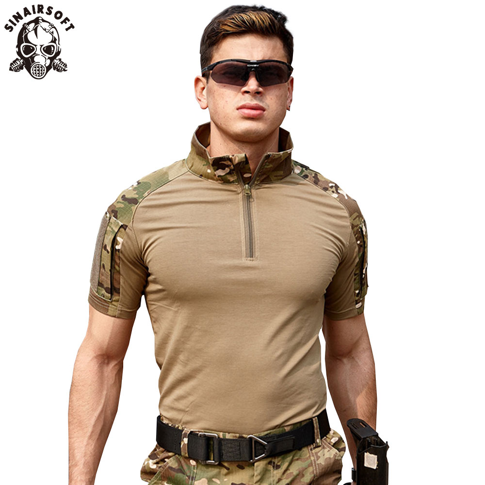 SINAIRSOFT Men Summer T-Shirt 2018 New Tactical Short Sleeve Military Camouflage Cotton Tee Shirts Hunting Clothes LY2068 black tee shirt men aliens vs predator t shirts male cotton short sleeve plain clothes create men s street t shirt round neck
