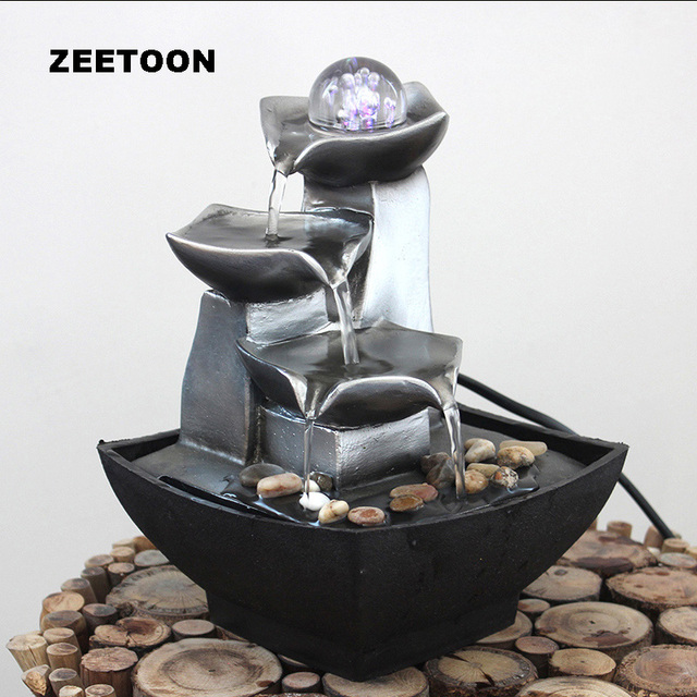 110- 240V Mini Fountain Water Features Feng Shui Crystal Ball Lucky Desktop Home Decor Office Water Cycle Ornament Business Gift