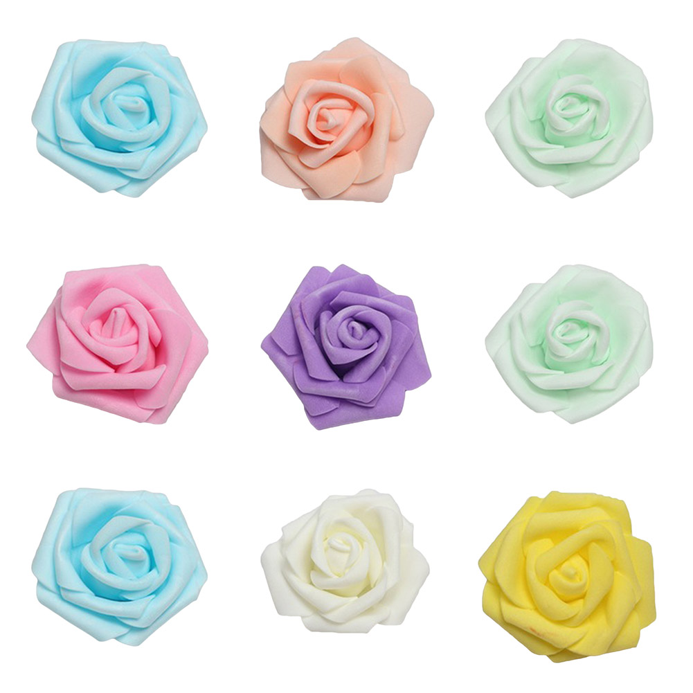 100Pcs/Pack! Simulation Rose In The First Five Layer PE Foam The Indispensable Materials Of Red Rose Flower Diameter Of 6 Cm