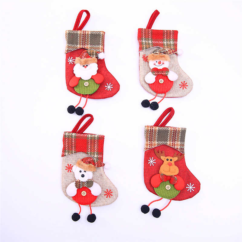 Mini Christmas Stockings Socks Santa Claus Candy Gift Bag Christmas Decorations for Home Festival Party Ornaments  #2o22 (6)