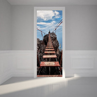 Stairs Cliff Ladder PVC Self Adhesive Refrigerator Door Cover Sticker Wallpaper Protect Paper