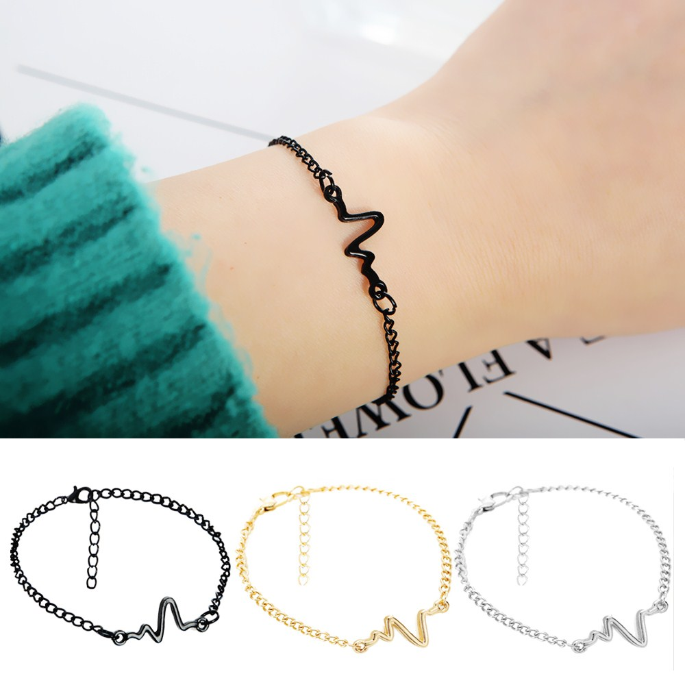L245 Simple Heart Beat Rhythm Chain Bracelet Jewelry ECG Heartbeat Bracelets Men Gift Punk Pulseira
