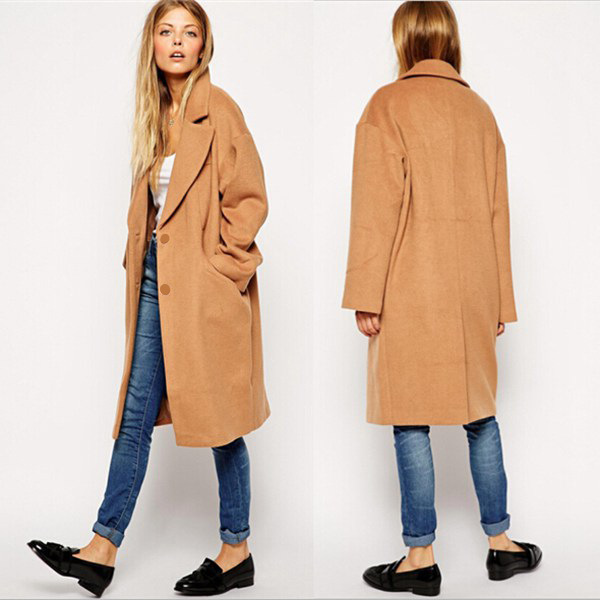 1e612ad03f Plus Size Wool Blends New Camel Winter Coat Women Overcoat Single Breasted  Parka Casual Long Trench Coat Ladies Free Shipping