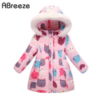 2017 New children down & parkas 2 5T winter baby girls long jackets coats Thicken warm hooded outerwear for toddler girls PQ11