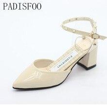 2017 Femmes Chaussures d'été Élégant Mi-chaussures à talons hauts boucle Cristal sandales zapatillas mujer sapato Pour Partie 6 cm. DFGD-172