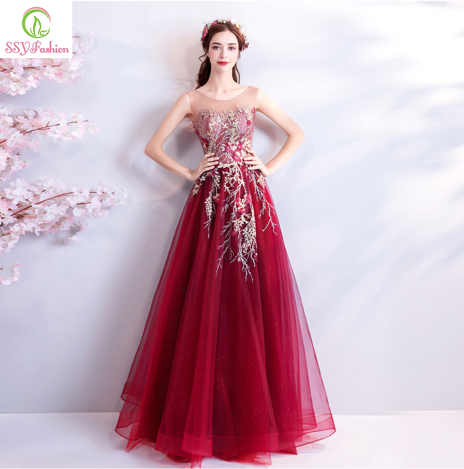 SSYFashion New Elegant Evening Dress Wine Red Sleeveless Floor length Lace Embroiery Beading Prom Party Gown