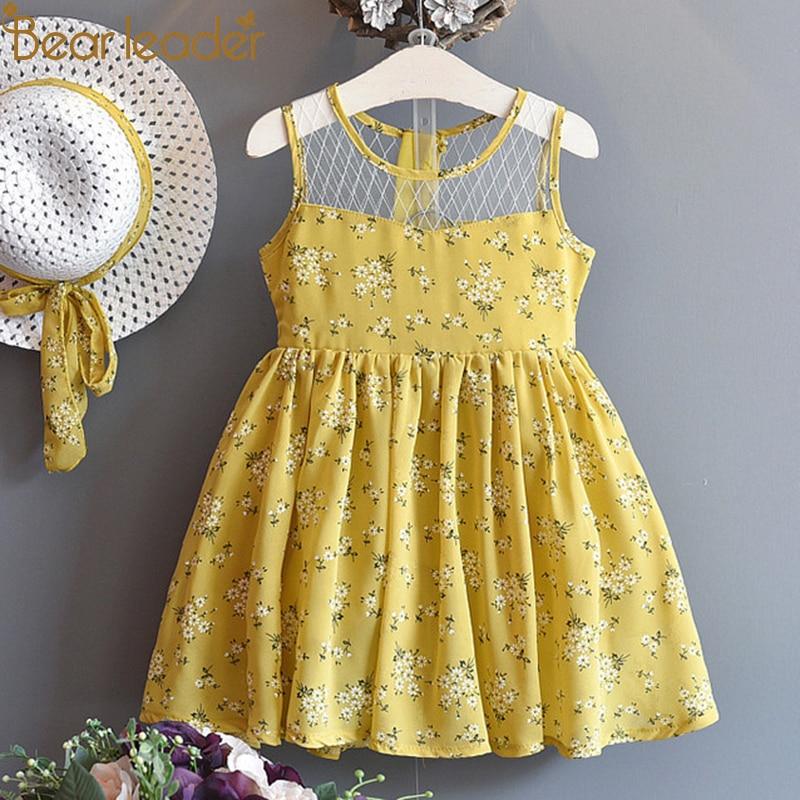 Bär Führer Mädchen Kleider 2018 Neue Marke Prinzessin Mädchen Kleidung Blume Design Spleißen Gaze Überlagertes Kleid + Hut 2 stücke für 2-6Years