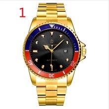 Brand Luxury Sport Quartz Watch Men Business Stainless Steel Silicone Waterproof Wristwatch 49