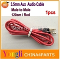 10pcs Aux Cable 120cm 4FT Male to Male Audio Auxiliary Adapter 3.5mm Audio Stereo Cord 4 iPod MP3 red Free shipping