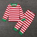 Повседневная Детская Одежда Наборы Пижамы Рождество Весна Коллекция Костюмов Для Детей Мебель Полосатый Пуловер Рубашка и Брюки