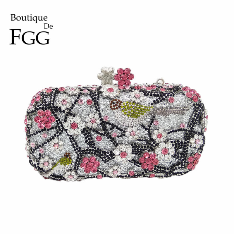 ФОТО Gift Box New Arrivals Women Casual Metal Miniaudiere Wedding Evening Bags Multi Crystal Clutches Party Purses Women's Handbags