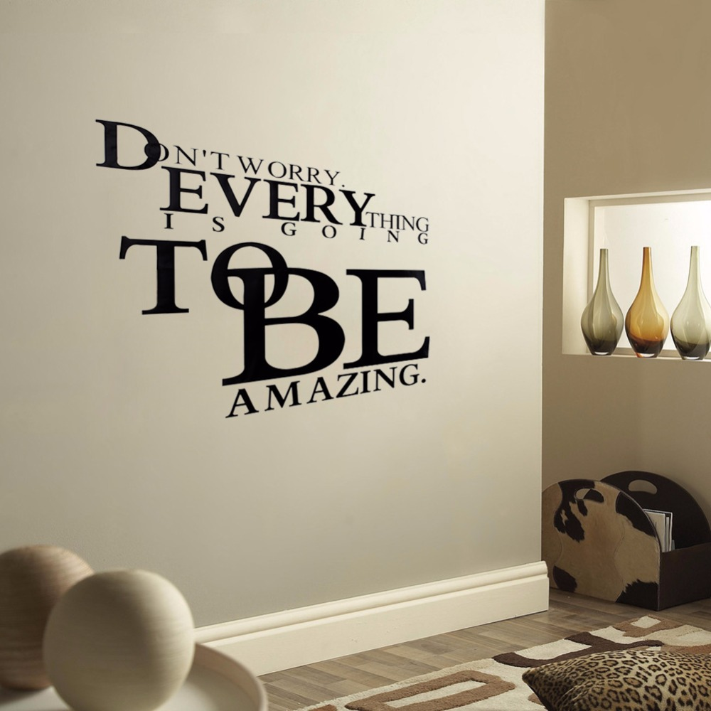 Living Room Wall Decor Designs compare prices on wall designs online shoppingbuy low price fashion design text decor donot worry every thing tobe words decal removable wall